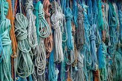 Bunch of Assorted Colored Woven Rope Stock Images