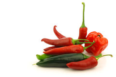 Bunch of assorted red and green peppers (capsicum) Stock Photos