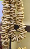 A bunch of bagels on the rope. Russian bagels for tea stock image