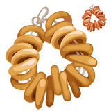 Bunch of bagels on a rope. Vector food isolated. Bunch of bagels on a rope. Vector food. Cartoon style. Illustration on a white background for your design needs Stock Images