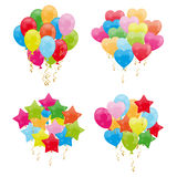 Bunch of balloons. Bunch of colorful cartoon classic balloons and also in the shapes of hearts and stars. Isolated on white background.Eps file available Stock Photos