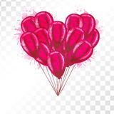 Bunch of balloons heart shaped on transparent background. Royalty Free Stock Photos