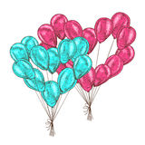 Bunch of balloons heart shaped on white background. Stock Image