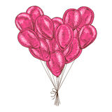 Bunch of balloons heart shaped on white background. Royalty Free Stock Images