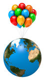 Bunch of Balloons Holding Up the Earth Planet Stock Photos
