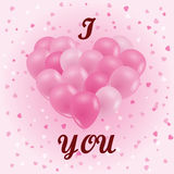 A bunch of balloons. Pink balloons in the shape of a heart. I lo. Ve you. Design for Valentine's day, birthday, cards. Confetti hearts on a pink background Stock Photo