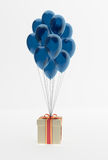Bunch of balloons and present. Bunch of color balloons and present, 3d render Royalty Free Stock Images