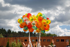Bunch of balloons rising into the sky. Russia. Stock Photography