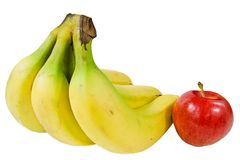 A bunch of bananas and an apple Stock Photography