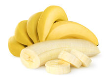 Isolated bunch of bananas royalty free stock photos
