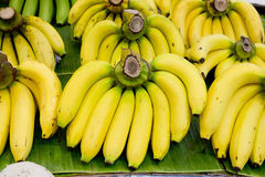 Bunch of bananas on banana leaf Stock Images