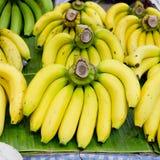 Bunch of bananas on banana leaf Royalty Free Stock Photos