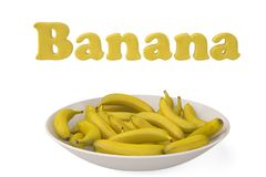 A bunch of bananas with Banana letters on white background.3D il. Lustration Royalty Free Stock Photos