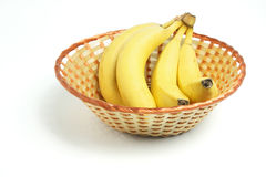 Bunch of Bananas in Basket Royalty Free Stock Photo