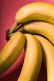 Bunch of bananas on the bright pink background. Vertical Royalty Free Stock Photos