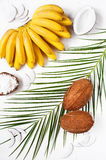Bunch of bananas, coconuts and palm leaf Stock Photo