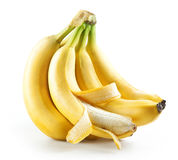 Bunch of bananas with open one isolated Royalty Free Stock Photos