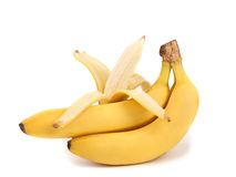 Bunch of bananas with open one. Stock Images