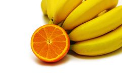 Bunch of bananas and orange is. Bunch of bananas and orange  isolated on white Stock Photos