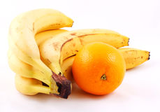 Bunch of bananas and oranges. Composition isolated on white background Stock Photography