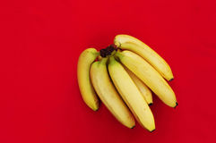 Bunch of bananas on red  background. Fresh organic Banana, Fresh bananas on kitchen table Stock Image