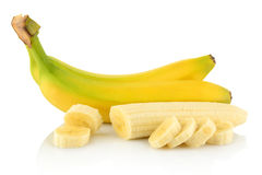Bunch of bananas with slices on white background Stock Photography
