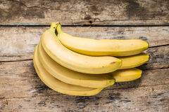 Bunch of Bananas on Wood Background. Top View Royalty Free Stock Photography