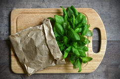 Bunch of basil in a paper bag. Royalty Free Stock Images