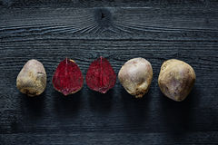 A bunch of beetroot inside outside colorful foods Royalty Free Stock Images