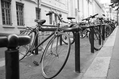 Bunch Bikes Rack Street Royalty Free Stock Photos