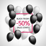 Bunch of black and white balls around a red frame with inscription Black Friday sales start minus 50 percent. On white. Promotional banner for the season of royalty free illustration