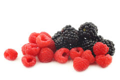Bunch of blackberries and raspberries Stock Photo