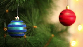 A bunch of blue balls on the Christmas tree. Christmas background stock footage