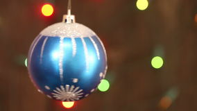 A bunch of blue balls on the Christmas tree. Christmas background stock video footage