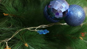 A bunch of blue balls on the Christmas tree stock video