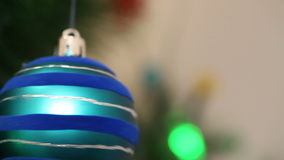 A bunch of blue balls on the Christmas tree stock video footage