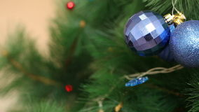 A bunch of blue balls on the Christmas tree stock footage
