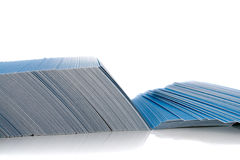 Bunch of blue business cards. Isolated on white background, with shadow Stock Images