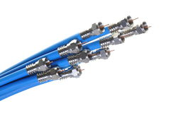 Bunch of blue coaxial cables Stock Photo