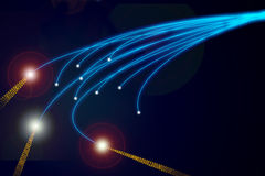 Bunch of the blue optical fibres. On black background Royalty Free Stock Photo