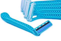Bunch of blue razors. On white background Stock Images