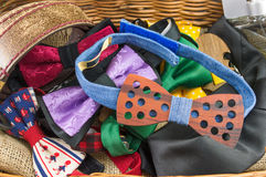 Bunch of bow ties and male accessories in a box Royalty Free Stock Photos
