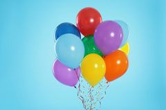 Bunch of bright balloons royalty free stock photo