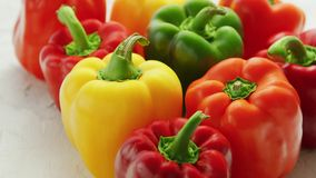 Multicolored bell peppers in heap stock video footage