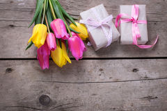 Bunch of bright yellow and pink spring tulips and boxes with pre Royalty Free Stock Photos