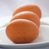 Bunch of brown eggs on a white background Royalty Free Stock Photos
