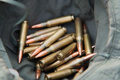 Bunch of bullets. Lying in a military hat Royalty Free Stock Images