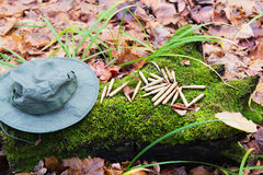 Bunch of bullets lying on the moss. Beside hat Royalty Free Stock Photos