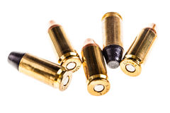 Bunch of bullets. A bunch of 9mm handgun bullets cartridges isolated over a white background Stock Photos