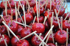Bunch of candy apples Stock Photos
